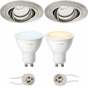 PHILIPS HUE - LED Spot Set GU10 - White Ambiance - Bluetooth - Pragmi Alpin Pro - Inbouw Rond - Mat Nikkel - Kantelbaar - Ø92mm