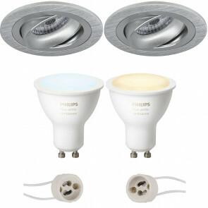 PHILIPS HUE - LED Spot Set GU10 - White Ambiance - Bluetooth - Pragmi Alpin Pro - Inbouw Rond - Mat Zilver - Kantelbaar Ø92mm