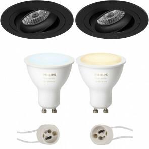 PHILIPS HUE - LED Spot Set GU10 - White Ambiance - Bluetooth - Pragmi Alpin Pro - Inbouw Rond - Mat Zwart - Kantelbaar Ø92mm