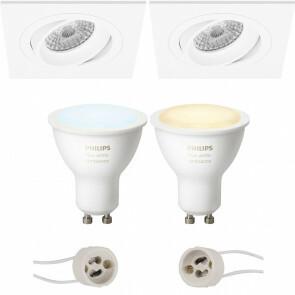 PHILIPS HUE - LED Spot Set GU10 - White Ambiance - Bluetooth - Pragmi Borny Pro - Inbouw Vierkant - Mat Wit - Kantelbaar - 92mm
