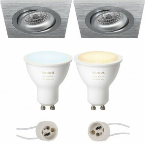 PHILIPS HUE - LED Spot Set GU10 - White Ambiance - Bluetooth - Pragmi Borny Pro - Inbouw Vierkant - Mat Zilver - Kantelbaar - 92mm