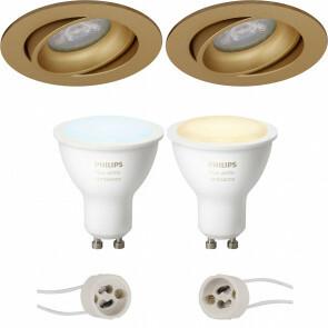 PHILIPS HUE - LED Spot Set GU10 - White Ambiance - Bluetooth - Pragmi Delton Pro - Inbouw Rond - Mat Goud - Kantelbaar - Ø82mm
