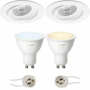 PHILIPS HUE - LED Spot Set GU10 - White Ambiance - Bluetooth - Pragmi Delton Pro - Inbouw Rond - Mat Wit - Kantelbaar - Ø82mm