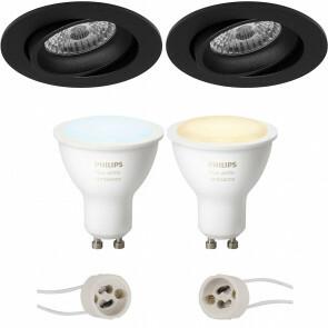 PHILIPS HUE - LED Spot Set GU10 - White Ambiance - Bluetooth - Pragmi Delton Pro - Inbouw Rond - Mat Zwart - Kantelbaar - Ø82mm