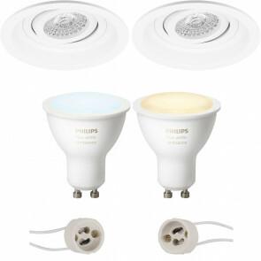 PHILIPS HUE - LED Spot Set GU10 - White Ambiance - Bluetooth - Pragmi Domy Pro - Inbouw Rond - Mat Wit - Verdiept - Kantelbaar - Ø105mm