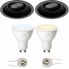 PHILIPS HUE - LED Spot Set GU10 - White Ambiance - Bluetooth - Pragmi Domy Pro - Inbouw Rond - Mat Zwart - Verdiept - Kantelbaar - Ø105mm