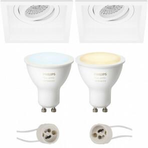 PHILIPS HUE - LED Spot Set GU10 - White Ambiance - Bluetooth - Pragmi Domy Pro - Inbouw Vierkant - Mat Wit - Verdiept - Kantelbaar - 105mm
