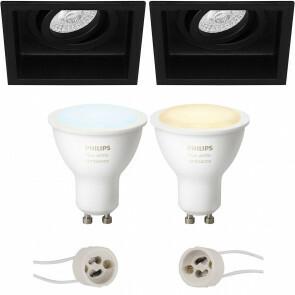 PHILIPS HUE - LED Spot Set GU10 - White Ambiance - Bluetooth - Pragmi Domy Pro - Inbouw Vierkant - Mat Zwart - Verdiept - Kantelbaar - 105mm