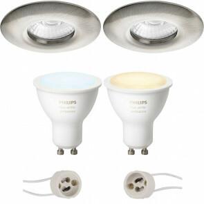 PHILIPS HUE - LED Spot Set GU10 - White Ambiance - Bluetooth - Pragmi Luno Pro - Waterdicht IP65 - Inbouw Rond - Mat Nikkel - Ø82mm