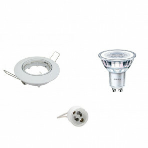 PHILIPS - LED Spot Set - CorePro 827 36D - GU10 Fitting - Inbouw Rond - Glans Wit - 3.5W - Warm Wit 2700K - Kantelbaar Ø90mm