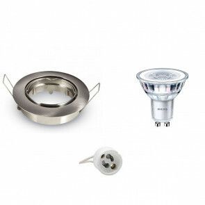 PHILIPS - LED Spot Set - CorePro 827 36D - GU10 Fitting - Dimbaar - Inbouw Rond - Mat Chroom - 4W - Warm Wit 2700K - Kantelbaar Ø90mm