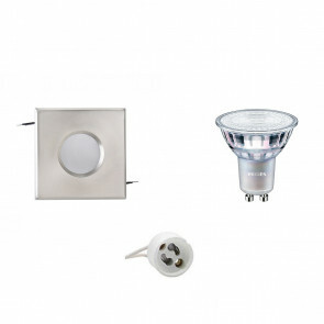 PHILIPS - LED Spot Set - MASTER 927 36D VLE DT - GU10 Fitting - Waterdicht IP65 - Dimbaar - Inbouw Vierkant - Mat Chroom - 3.7W - Warm Wit 2700K - 82mm