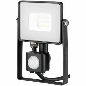SAMSUNG - LED Bouwlamp 10 Watt met sensor - LED Schijnwerper - Viron Dana - Helder/Koud Wit 6400K - Spatwaterdicht IP44 - Mat Zwart - Aluminium