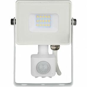 SAMSUNG - LED Bouwlamp 10 Watt met sensor - LED Schijnwerper - Viron Dana - Warm Wit 3000K - Spatwaterdicht IP44 - Mat Wit - Aluminium