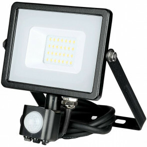 SAMSUNG - LED Bouwlamp 20 Watt met sensor - LED Schijnwerper - Viron Dana - Helder/Koud Wit 6400K - Spatwaterdicht IP44 - Mat Zwart - Aluminium