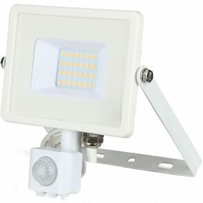 SAMSUNG - LED Bouwlamp 20 Watt met sensor - LED Schijnwerper - Viron Dana - Warm Wit 3000K - Spatwaterdicht IP44 - Mat Wit - Aluminium