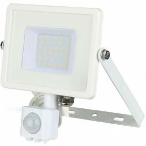 SAMSUNG - LED Bouwlamp 30 Watt met sensor - LED Schijnwerper - Viron Dana - Warm Wit 3000K - Spatwaterdicht IP44 - Mat Wit - Aluminium