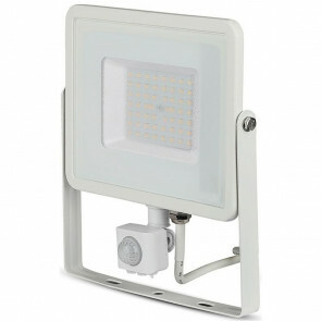 SAMSUNG - LED Bouwlamp 50 Watt met sensor - LED Schijnwerper - Viron Dana - Helder/Koud Wit 6400K - Spatwaterdicht IP44 - Mat Wit - Aluminium