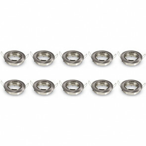 Spot Armatuur 10 Pack - GU10 Fitting - Inbouw Rond - Mat Chroom Aluminium - Kantelbaar Ø90mm