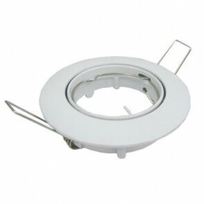 Spot Armatuur/Frame GU10 Rond Inbouw 82mm Aluminium Glans Wit Kantelbaar