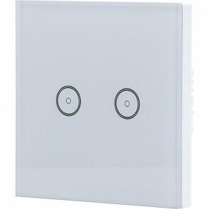 Touchschakelaar Smart WiFi - Aigi Smarton - Inbouw - 2-voudig Touch Schakelaar - Incl. Glazen Afdekraam - Wit