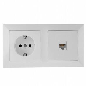 UTP RJ45 Stopcontact - Wandcontactdoos - Aigi Cika - Inbouw - 1-voudig Stopcontact - 1-voudig UTP CAT5E - Randaarde - Incl. Afdekraam - Wit