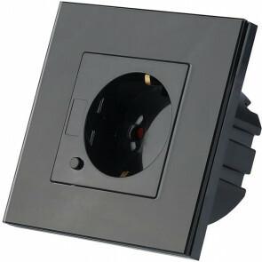 Wandcontactdoos Smart WiFi - Viron Wimo - Inbouw - 1-voudig - Randaarde - Incl. Glazen Afdekraam - Zwart