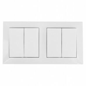 Wisselschakelaar - Aigi Cika - Inbouw - 2-voudig Dubbel Schakelaar - Incl. Afdekraam - Wit