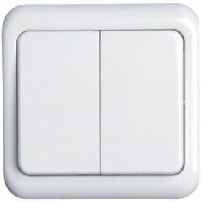 Wisselschakelaar - Aigi Cuka - Inbouw - 1-voudig Dubbel Schakelaar - Incl. Afdekraam - Wit